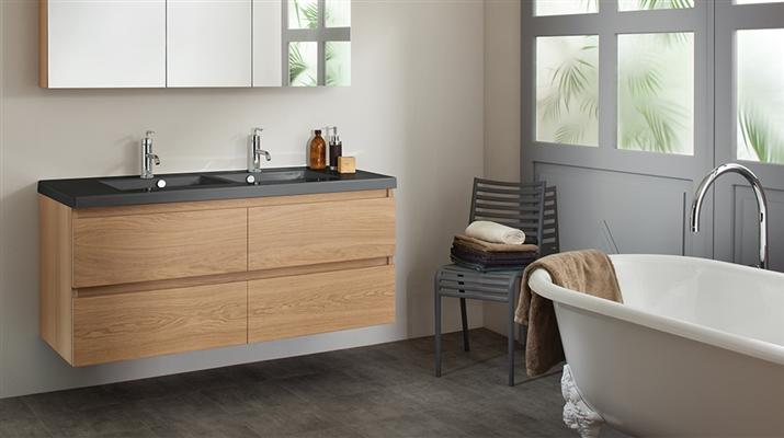 tendance 2019, salle de bains bois