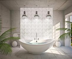 Verre et béton dans la salle de bain